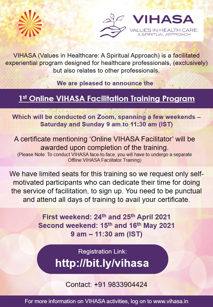 1st Online VIHASA Facilitation Traning Program